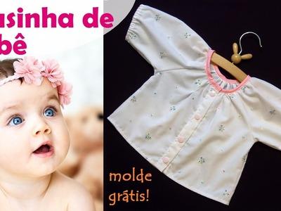 Blusinha de bebê com manga raglan - moldes grátis (DIY Tutorial) - VEDA#14