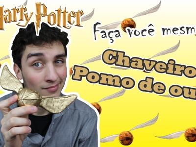 DIY; Faça você mesmo! Chaveiro Pomo de ouro - Harry Potter! #potterweek