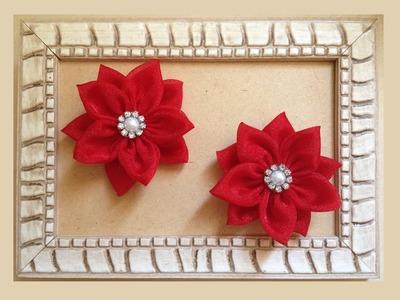 Flor de tecido - Flor de Fuxico - Flor Simples - DIY Fabric Flower