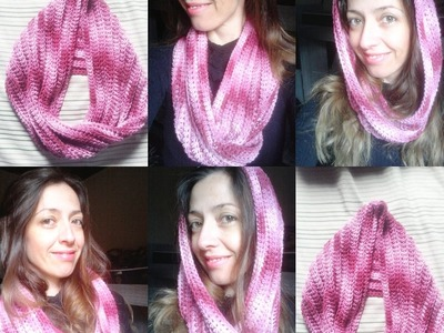 Gola Torcida em croche com Barroco.Crochet infinity scarf