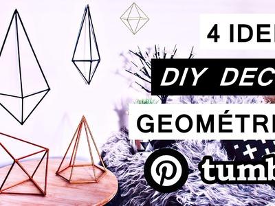 4 DIY Decoração geométrica quarto Tumblr. Como fazer decor Pinterest, Tumblr e Urban Outfitters