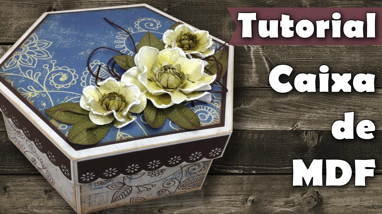 DIY Caixa scrap decor com flores de papel | Tutorial | PAP
