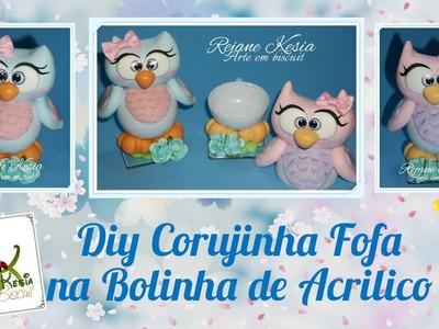 Diy Corujinha Fofa na bola acrilica - Rejane Kesia