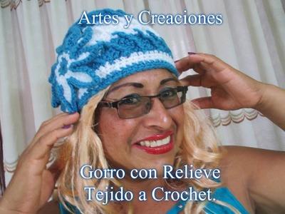 GORRO CON RELIEVE PARA DAMA A CROCHET