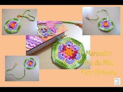 Marcador de Livro Dia da Mãe Flor Africana (crochet)