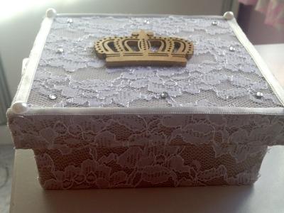 Artesanato como fazer caixa usando renda e tecido parte 2
