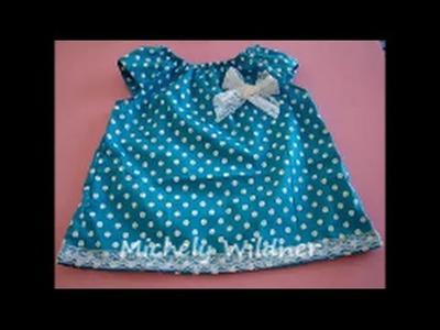Diy como fazer vestidinho para bebê de 3 meses a 4 anos com molde