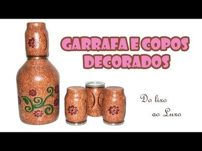 Garrafas Decoradas - Moringa com Garrafão de Vinho e Copos de Requeijão  ARTESANATO, DIY, RECICLAGEM