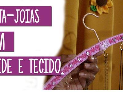 Porta-joia. porta bijuterias com cabide madeira e tecido | Artesanato passo a passo (PAP)