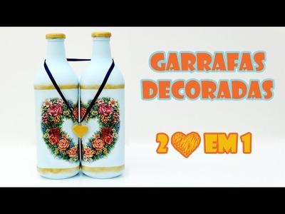 Garrafas Recicladas e Decoradas - 2 corações em 1 ( ARTESANATO, DIY, RECICLAGEM)