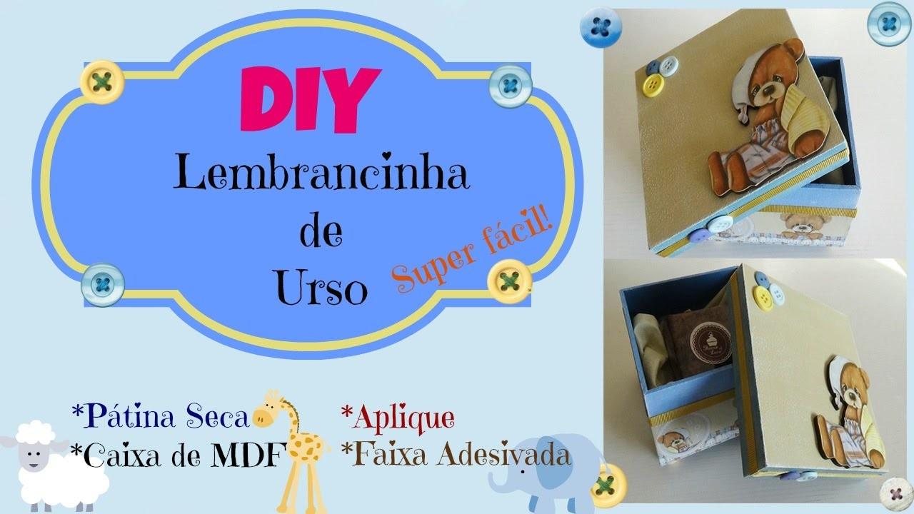 DIY - Caixa para Lembrancinhas em MDF - Menino | Pátina Seca| Carem Mota Melo | Canal Oficinaria
