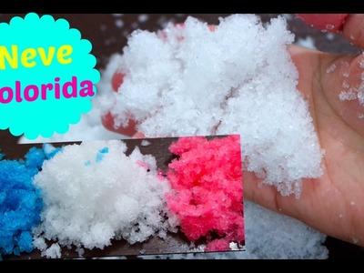DiY: Como Fazer Neve Colorida Artificial! How to make colorfual snow -  Elenice Carneiro