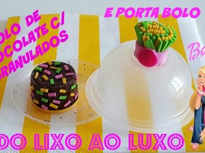 DIY - ( DO LIXO AO LUXO ) Como fazer bolo e porta bolo para Barbie e outras  bonecas.  MINIATURA