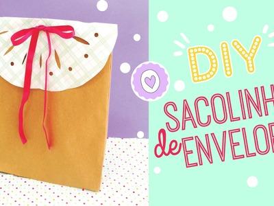 DIY| Sacolinha com envelope e renda de papel