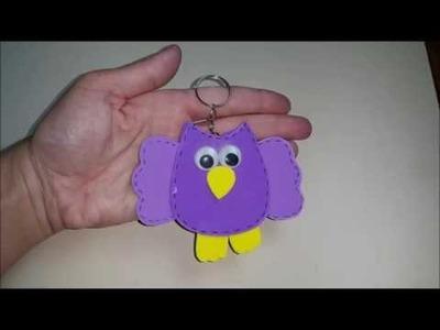 DIY Chaveiro de coruja em e v a