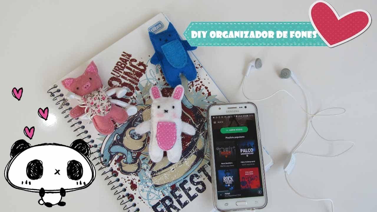 DIY Organizador de Fones de Ouvido de Feltro. DIY Earphone Organizer Tutorial