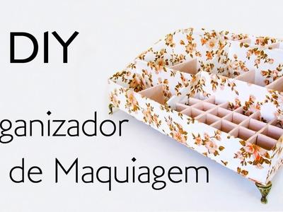 DIY: Como Fazer ORGANIZADOR MAQUIAGEM com PAPELÃO E TECIDO | Ideias Personalizadas - DIY