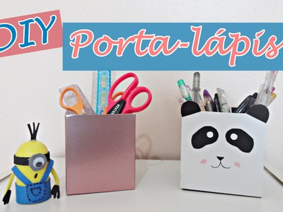 DIY: 2 porta-lápis para VOLTA ÀS AULAS! (Panda e Rose Gold)