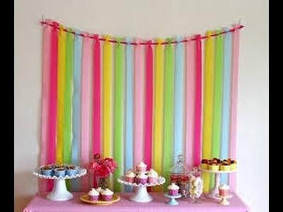 DIY.faça Você mesmo | Decoração de  festa de aniversário simples e barata: CORTINA DE PAPEL CREPOM