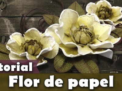 Como fazer Flor de papel | DIY | Tutorial | PAP | Scrapbook