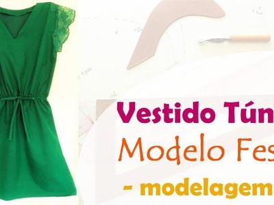 Vestido Túnica - Modelo Festa - Parte 1: MODELAGEM (DIY Tutorial) - VEDA#29