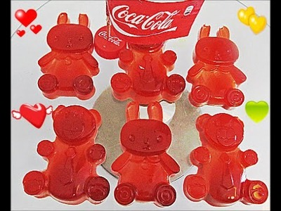 How To Make Real Coca Cola Drinking Water Pudding bears  rabbits Jelly Cooking Learn the Recipe DIY