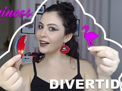 BRINCOS DIVERTIDOS (funny earring) COM EVA E ESMALTE DIY