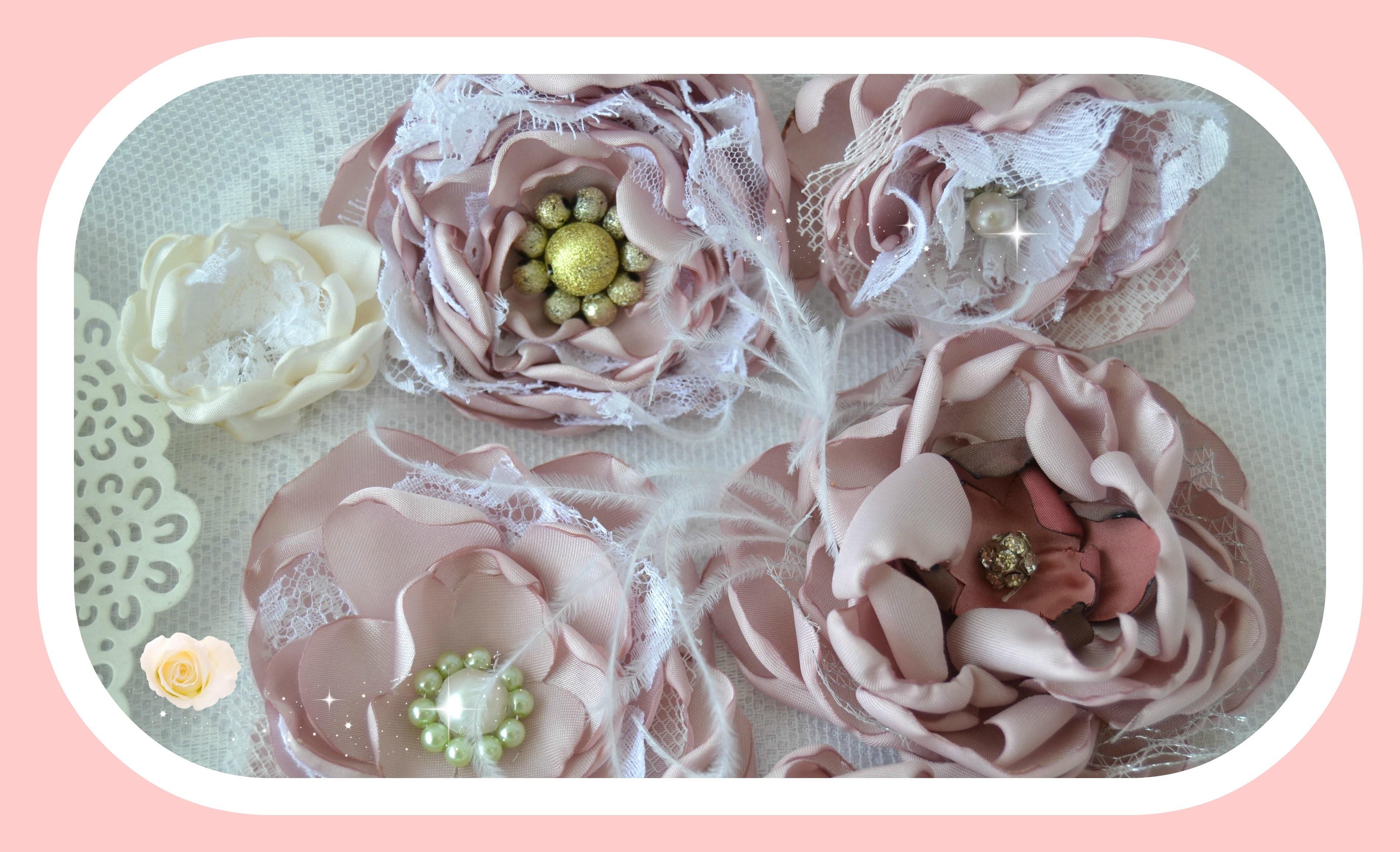 DIY: Rosas de cetim e rendas