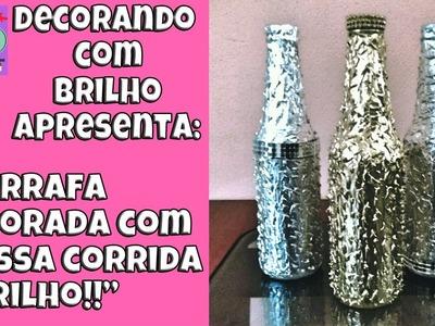 DIY | GARRAFA DECORADA para ENFEITE com MASSA CORRIDA