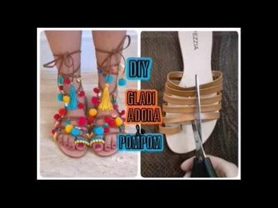 DIY - Como Fazer Sandália Boho Chic - Pompom shoes - sandália de pompom Verão 2017