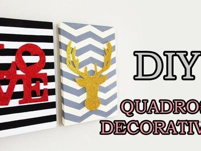 DIY: QUADROS DECORATIVOS Listrado e Chevron (Decoração Estilo Pinterest, Tumblr. )