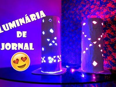 Luminária de jornal DIY