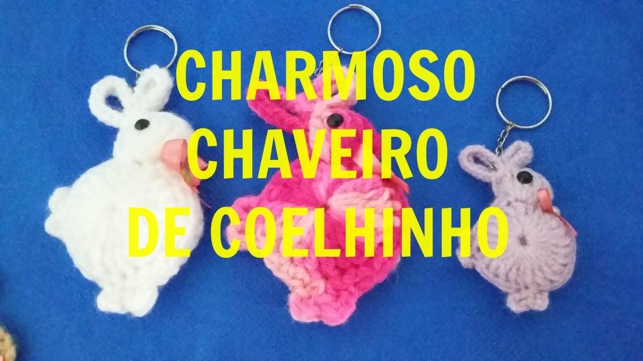 UM CHARMOSO CHAVEIRO DE COELHINHO - FRANCI ARTESANATO