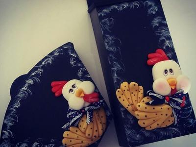 DIY- Fran aulas - mdf com galinhas em biscuit - parte 2