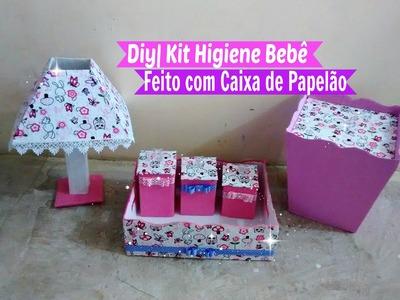 Diy | Kit Higiene Bebê Feito com Caixa de Papelão. Por Carla Oliveira