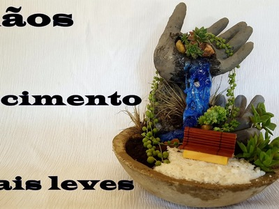DIY.Vaso com mãos de cimento e isopor (maceta en forma de manos de cemento)