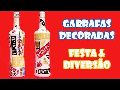 """Garrafas Recicladas Decoradas """"Festa e Diversão"""" ( ARTESANATO, DIY, RECICLAGEM )"""