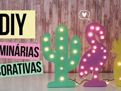 DIY: Luminárias Decorativa   FLAMINGO + CACTO + ABACAXI