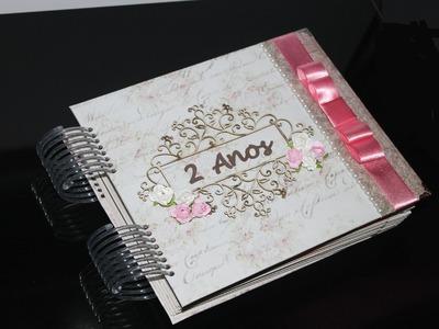 """VIVA O AMOR - Scrapbook decorado """"Bodas - 2 anos de casados"""""""