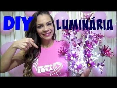 DIY| LUMINÁRIA COM GARRAFA PET | ARVORE COM LUZ | OUTUBRO ROSA