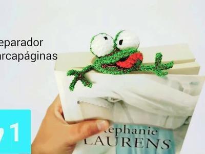 Marcapáginas,   separador de libros ranita amigurumi crochet