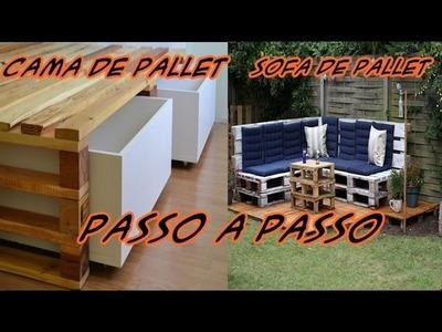Sofa de pallet, Cama de Pallet e espreguiçadeira #PassoAPasso #tutorial DIY #DecorarMoveisCaseiros