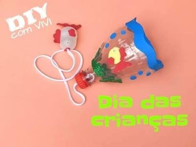 DIY Dia da Criança. Brinquedo com material reciclado - BILBOQUÊ