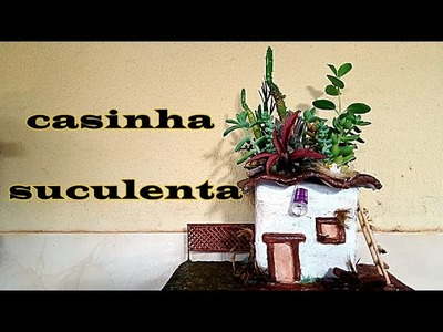 DIY.VASO CASINHA DE TOALHA E CIMENTO 1.2(MACETA CASITA DE TOALLA Y CEMENTO 1.2)