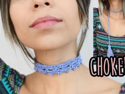 Choker gargantilha (dois modelos) em crochê