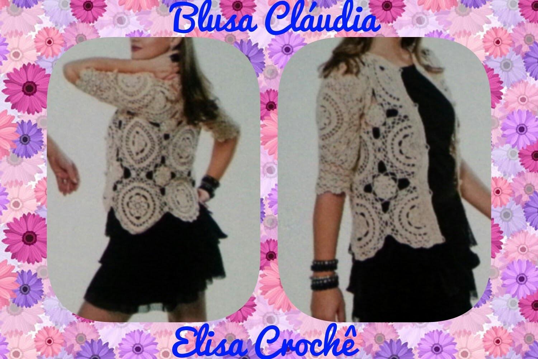 Versão canhotos :Casaqueto Cláudia M 40.42 *P, G e GG* (1ª parte ) # Elisa Crochê