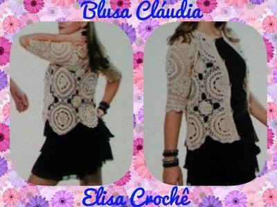 Versão canhotos : Casaqueto Cláudia M 40. 42 * P, G e GG * ( 2ª parte ) # Elisa Crochê