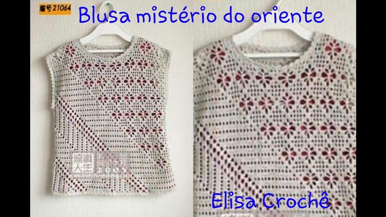 Versão destros:Blusa mistério do oriente em crochê (8° parte )# Elisa Crochê