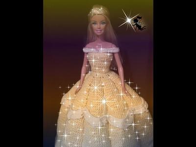 Vestido para boneca feito em croche.Bela - LiiArt