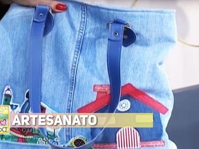 Artesanato - Bolsa de calça jeans